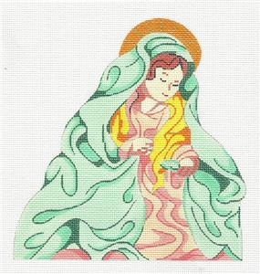 Canvas~Mother Mary Nativity handpainted Needlepoint Canvas by Silver Needle