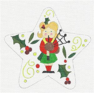 "Star~ 12 Days ""11 PIPERS PIPING"" Star HP Needlepoint Canvas by Raymond Crawford"
