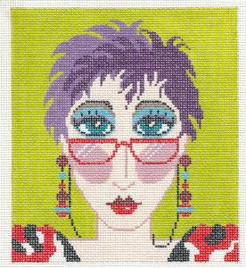 "Canvas~Colorful ""City Girl w/ Glasses"" handpainted Needlepoint Canvas ~ BG Insert ~ LEE"