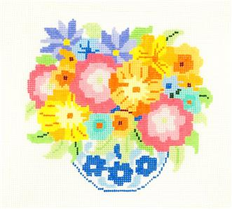 "Sm. Bouquet #15 handpainted 13m Needlepoint Canvas 8"" Sq. by Jean Smith"
