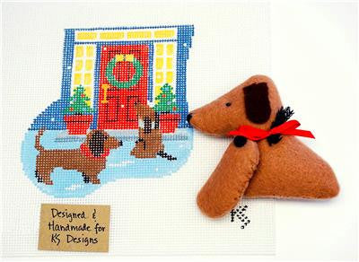Canvas~ DACHSHUNDS & DOOR SET ~ HP Needlepoint Ornament & DOXIE by Kathy Schenkel