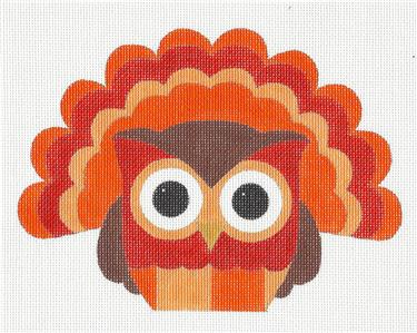 Owl~ Thanksgiving TURKEY OWL handpainted Needlepoint Canvas by Raymond Crawford