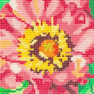 "Pink Peony 4"" Coaster handpainted Needlepoint Canvas by Jean Smith Designs"