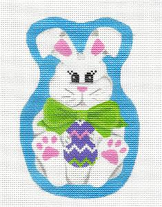 Canvas- Bow Tie Easter Bunny handpainted Needlepoint Ornament by Pepperberry