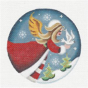 Round ~ Angel of Peace w/ Dove Ornament handpainted Needlepoint Canvas by Rebecca Wood