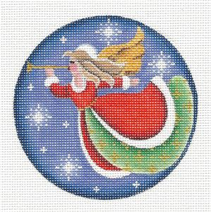Round ~ Angel w/ Trumpet Horn Ornament handpainted Needlepoint Canvas by Rebecca Wood