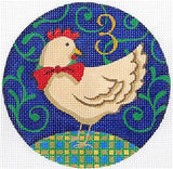 12 Days of Christmas 3 French Hens with STITCH GUIDE & HP Needlepoint canvas Juliemar