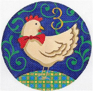 12 Days of Christmas 3 Hens with STITCH GUIDE & HP Needlepoint canvas Juliemar