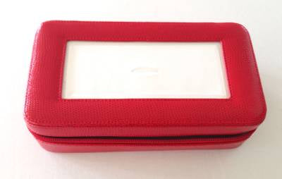 Accessory~Sewing Box with Zipper Premium Red Leather for Needlepoint Canvas Insert LEE