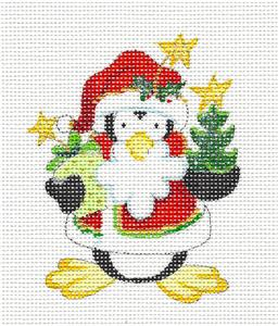 Penguin~Penguin with Holly hand painted Needlepoint Canvas~ by Strictly Christmas