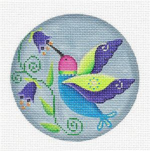 Round ~ SP.ORDER Hummingbird for the Month of June HP Needlepoint Canvas by Rebecca Wood