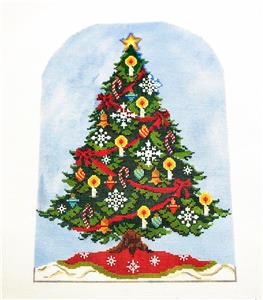 Kelly Clark – Elegant CHRISTMAS TREE handpainted Needlepoint Canvas by Kelly Clark