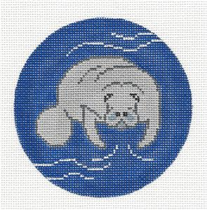 Round-Aquatic MANATEE handpainted Needlepoint Canvas Ornament by Christine ~ Danji