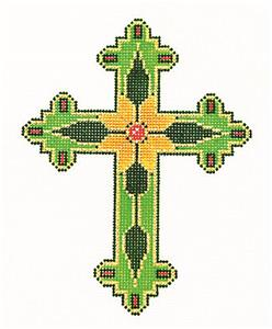 "Cross~ Elegant 7"" tall Green & Gold CROSS handpainted Needlepoint Canvas by LEE 13 Mesh"
