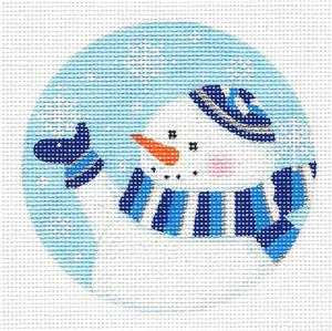 "Round~Jewish ""Yarmulka Snowman"" handpainted Needlepoint Canvas by Pepperberry"