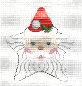 Christmas~Star Classic Santa's Face Star handpainted Needlepoint Canvas by Susan Roberts