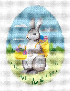 Egg~ Rabbit with a Basket Egg handpainted Needlepoint Canvas by Susan Roberts