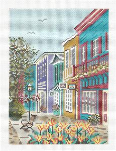 Canvas~ CAPE MAY, NJ, WALKING MALL handpainted Needlepoint Canvas by Needle Crossings