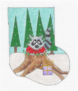 Stocking ~ Woodland Christmas Raccoon Mini Sock HP Needlepoint Ornament Renaissance