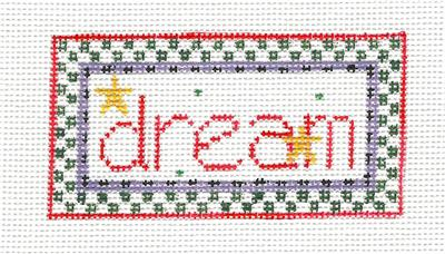 "Canvas~"" DREAM "" ~ handpainted Needlepoint Canvas Ornament by Kathy Schenkel"