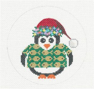 Round~4.5 Penguin in Hawaiian Shirt handpainted Needlepoint Canvas JP Needlepoint