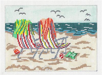 Canvas~ SEASIDE BEACH CHAIRS handpainted Needlepoint Canvas by Needle Crossings