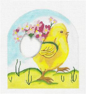 Canvas~ Chick with Egg Basket of Flowers HP Needlepoint Canvas Raymond Crawford