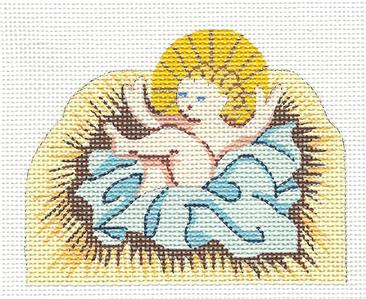 Canvas~Baby Jesus Nativity handpainted Needlepoint Canvas by Silver Needle