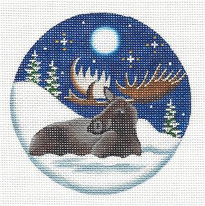 Round ~ Royal Moose in Moonlight Ornament handpainted Needlepoint Canvas by Rebecca Wood~MAY NEED TO BE SPECIAL ORDERED