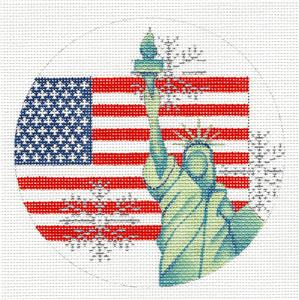 USA with Flag & Statue of Liberty handpainted Needlepoint Canvas Trubey
