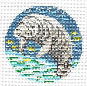 "Round~Manatee swimming 3"" Rd. handpainted Needlepoint Canvas by Needle Crossings"