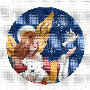 Round ~ Arctic Angel White Bear & Dove Ornament handpainted Needlepoint Canvas Reb.Wood