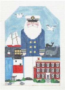 Canvas~NANTUCKET ISLAND SANTA large Needlepoint Canvas Design ~ Kathy Schenkel