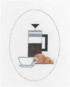 Oval~Coffee & a Croissant Oval handpaint Needlepoint Ornament Canvas Raymond Crawford