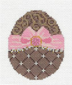 Kelly Clark - Easter Chocolate Ribbon Egg HP Needlepoint Canvas & Stitch Guide