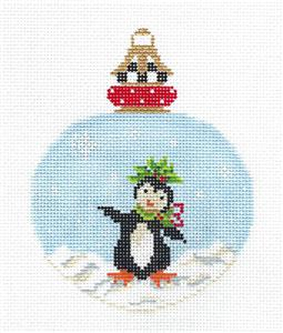 Kelly Clark -Dancing Penguin in Snow handpainted Needlepoint Ornament Canvas ~ Kelly Clark