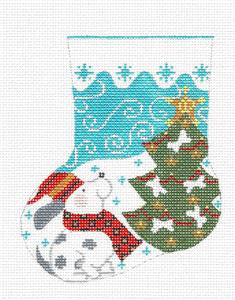 Mini Stocking-Puppy Dog Christmas Tree handpaintd Needlepoint Canvas Danji