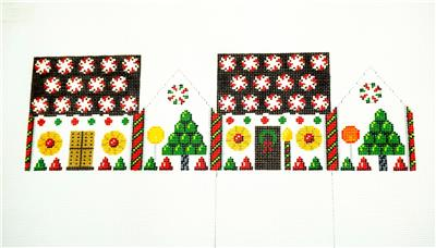 3D  PEPPERMINT ROUNDS Gingerbread House 3-D Needlepoint Ornament by Susan Roberts**MAY NEED TO BE SPECIAL ORDERED**