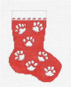 Stocking~Paw Prints on Red Mini Stocking handpainted Needlepoint Canvas Needle Crossings