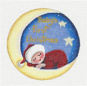 Round ~Baby's First Christmas Ornament handpainted Needlepoint Canvas by Rebecca Wood~MAY NEED TO BE SPECIAL ORDERED