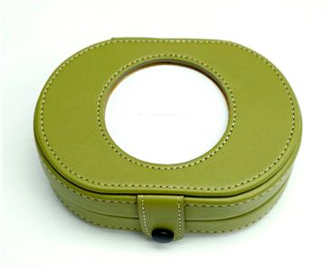 Accessories~Needle Case~LEE Full Grain Green Leather Needle Case magnetic for Needlepoint Canvas