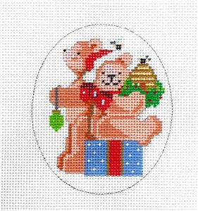 Canvas-Christmas Teddy Bears w/ Gift handpainted Needlepoint Canvas by Kooler from CBK