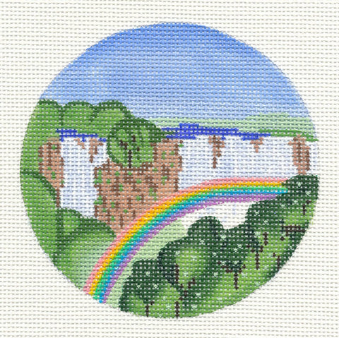 "Round~4"" Africa ~ Victoria Falls, Zimbabwe Destination Needlepoint Canvas by Painted Pony"