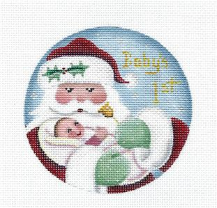 Round ~Baby Girl's First Christmas w/ Santa Needlepoint Canvas Rebecca Wood~MAY NEED TO BE SPECIAL ORDERED
