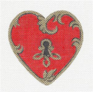 Heart~Red & Gold Heart with Key handpainted Needlepoint Ornament by Pepperberry