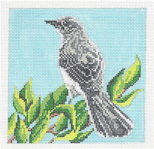"Canvas~Mockingbird Bird 5"" Sq. handpainted Needlepoint Canvas by Needle Crossings"