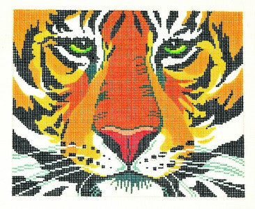 "Canvas~LEE Tiger handpainted Needlepoint Canvas ~ 8.25"" by 10.25"" ~ BF ~ 13 mesh"