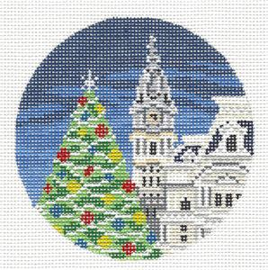 "Round~4"" Philadelphia, PA City Hall Christmas Tree HP Needlepoint Canvas Needle Crossings"