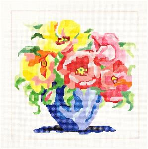 "Sm. Matisse's Table #6 handpainted 13m Needlepoint Canvas 8"" by Jean Smith"