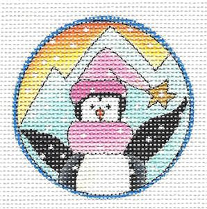 "Round ~ Artic Christmas Penguin 2.5"" RD. HP Needlepoint Canvas Renaissance Design"